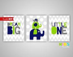Printable DIY Nursery Prints Lime green Navy by KidsPrintablesDIY, $12.00