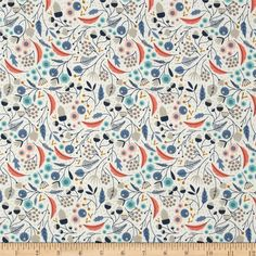 Cloud 9 Organic Wildwood Forest Floor Ivory from @fabricdotcom  From Cloud 9 Fabrics, this certified 100% organic cotton print fabric meets the GOTS certification; only low impact, organic dyes were used in this product. This fabric is perfect for quilts, home decor accents, craft projects and apparel. Colors include very light grey, coral, navy, aqua, peach, putty, stone and navy.