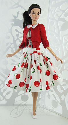 Cherry print retro fashion for Poppy, Victoire, Silkstone and similar sized dolls. Dress has a fully lined bodice with drop waist, full Barbie Patterns, Doll Clothes Patterns, Clothing Patterns, Barbie Et Ken, Vintage Barbie Dolls, Barbie Dress, Barbie Clothes, Fashion Royalty Dolls, Fashion Dolls