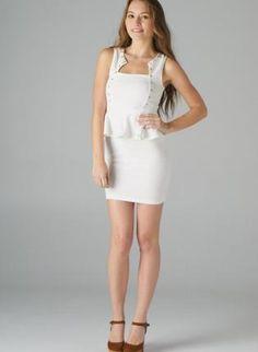 Ivory Sleeveless Peplum Dress with Spike Stud Embellishment,  Dress, embellished dress  peplum  sleeveless, Chic