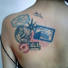 wanderlust tattoo Wanderers are constantly collecting passport stamps, soul-stirring stories and often, stunning wanderlust tattoos. Here are 46 wanderlust tattoos: Mini Tattoos, Trendy Tattoos, Tattoos For Women, Cool Tattoos, Tatoos, Piercing Tattoo, Wanderlust Tattoos, Neue Tattoos, Passport Stamps