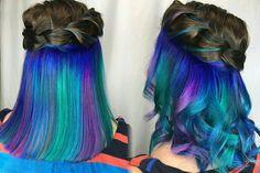Under Hair Color, Hair Color Underneath, Hidden Hair Color, Hair Color Streaks, Hair Dye Colors, Hair Highlights, Beautiful Hair Color, Cool Hair Color, Peekaboo Hair