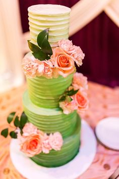 green ombre wedding cake with real peach roses