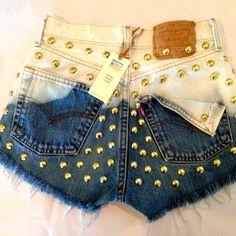 High waist Levi's 501 destroyed blue ombre denim shorts super frayed and studs size Med/Lg on Wanelo