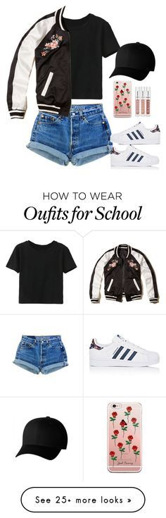 """Untitled #392"" by tired-unicorn on Polyvore featuring WithChic, Hollister Co., adidas and Flexfit"