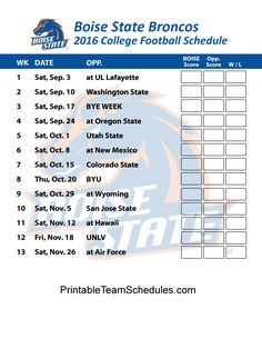 Boise State Broncos  2016 College Football Schedule Print Here - http://printableteamschedules.com/collegefootball/boisestatebroncos.php