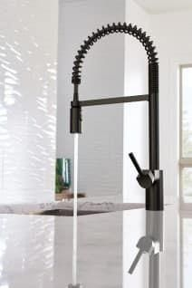 Moen Single Handle Pre-Rinse Spring Pulldown Kitchen Faucet with PowerClean™ Spray, High Arc Spout and Duralock™ Installation kitchen fixtures Moen Align Spiral Spring Faucet Black Kitchen Faucets, Kitchen Fixtures, Plumbing Fixtures, Bathroom Fixtures, Bathroom Faucets, Kitchen And Bath, Plumbing Pipe, Kitchen Sinks, Bathroom Cabinets