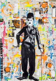 """Charlie Chaplin,"" original figurative painting by artist  Maísa Champalimaud (Portugal) available at Saatchi Art #SaatchiArt"