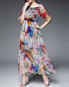 Pink Abstract Pattern Silk Maxi Dress