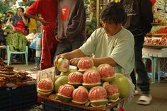 This photo from Benguet, Ilocos is titled 'Pomelo man'. Ilocos, Baguio City, Food Stall, Exotic Food, Homeland, Vintage Photos, Philippines, Vacations, Watermelon