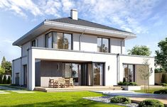 Modern House Design Ideas With 4 Bedrooms - Home Design Trends 2019 Two Story House Design, Modern Small House Design, Villa Design, Home Design, Two Storey House, Home Fashion, Building Design, Modern Architecture, Planer