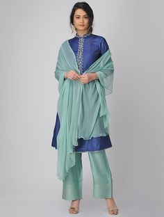 Buy Teal Chiffon Dupatta Dupattas Woven An Elegant Affair Timeless classics for the woman who values simple elegance Online at Jaypore.com