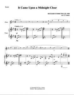 It Came Upon a Midnight Clear for Oboe and Piano (Alternate parts available) Oboe, Clarinet, Composers, Flute, Horn, Piano, Sheet Music, Celebration, Instruments