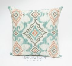 Ikat Orange Turquoise  Pillow Cover Modern by HearthandHomeStore