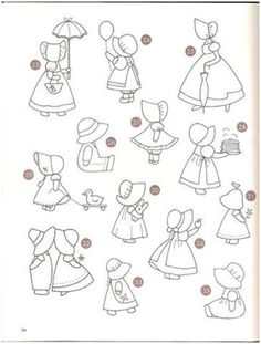Mädchen Hand Embroidery Patterns, Applique Patterns, Applique Quilts, Embroidery Applique, Embroidery Stitches, Quilt Patterns, Embroidery Designs, Sunbonnet Sue, Quilting Projects