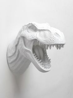 White Faux Taxidermy - The Bronson | T Rex Head | Faux Taxidermy Dinosaur | White Resin, $100.00 (http://www.whitefauxtaxidermy.com/product/t-rex-head-faux-taxidermy-white-resin/)