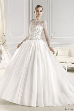 la sposa bridal 2015 wedding dress sheer jewel neckline long sleeves embellished bodice wedding ball gown ereden
