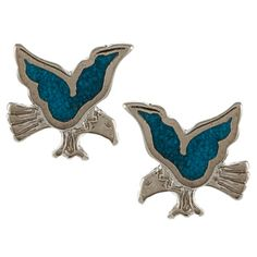 Southwest Moon Silvertone Turquoise Inlay Eagle Post Earrings | Overstock.com Shopping - The Best Deals on Gemstone Earrings