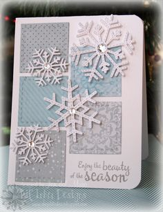 i(heart)2stamp blog:  Snowflake card.  Snowflake die available from Lil' Inker Designs.