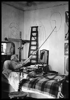 Matisse Painting from his Sick Bed