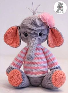 Elephant nina is super cute crochet with cotton so can be washed at 60 degrees if necessary it can be made in a small variation 15 cm and a large variant 25 cm Animal Knitting Patterns, Stuffed Animal Patterns, Crochet Patterns Amigurumi, Amigurumi Doll, Crochet Toys, Cute Crochet, Crochet For Kids, Crochet Baby, Knit Crochet