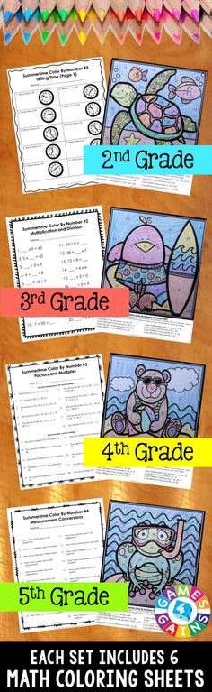 """These Summer Math Color-by-Number activities are the perfect way to review key math skills this month! As one teacher said, """"So much better than traditional color by number! I love the application of other skills and the problem solving that is included!"""" Different sets available for 2nd, 3rd, 4th, or 5th grade."""
