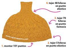 Capa con cuello alto - Tejiendo Perú Poncho Knitting Patterns, Knitted Poncho, Knitted Shawls, Loom Knitting, Crochet Bracelet, Macrame Knots, Knit Crochet, Crafts, Lana