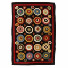 Penny Rug w/ Stitched Circle Coin Design