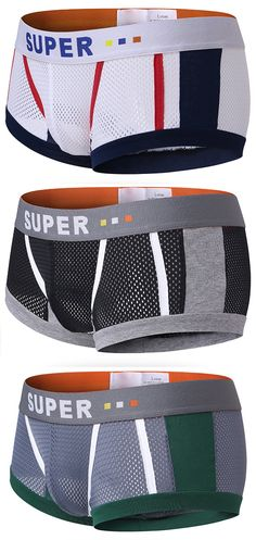 US$9.68 Sexy Mesh Breathable Sweat Absorbent U Convex Boxer Underwear for Men#fashion