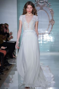 Stunning lace and chiffon number from Reem Acra's Spring 2015 bridal collection.