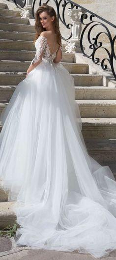 Illusion sweetheart neckline tulle skirt a line wedding dress #wedding #weddinggown #weddingdress #weddingdresses