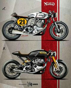 Which would you choose?  #norton #cafe racer  Holographic hammer