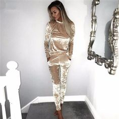 5b34cad69c88 Rogi Velvet Women Sets Long Sleeve Bodycon Slim Sweat Suits Hoodies  Tracksuit