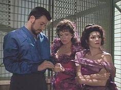 "Star Trek The Next Generation Season 3 episode ""Menage A Troi"" as Riker, Lwaxana (Majel Barrett), and Deanna are held captive by The Ferengi."