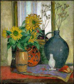 Moll,Oskar.Stilleben mit Sonneblumen und Matisse Schale - Still-life with sunflowers and Matisse-bowl, 1926 Canvas