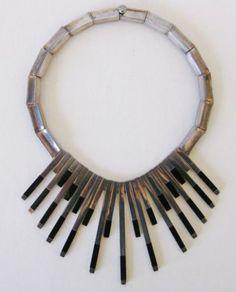 Mid Century Modern Sterling Silver Onyx Studio Collar Necklace