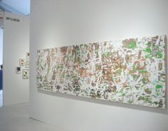 Amy Ellingston at Art Miami, 2013, solo installation at Eli Ridgway Contemporary, San Francisco: Variation/Mutation (scribble), 2012, oil and encaustic on two panels, 42 x 132 inches.