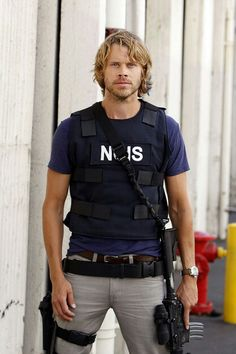 Looks like Deeks is ready for some action on the streets with a look on his face.