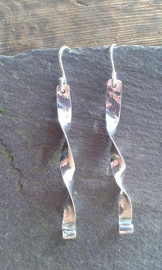 Stunning HandmadeFine Silver Twist  Earrings on 925 Silver Hook Fastener - Polished Silver Finish by OakanSilver on Etsy