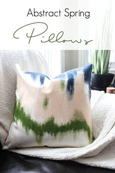 Make beautiful abstract Spring pillows for your home. Watch this quick video tutorial to learn how to paint your own! Great DIY home decor idea :)