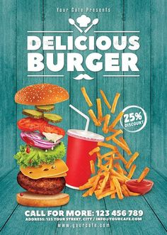 Restaurant Flyer Templates from GraphicRiver Restaurant Branding, Restaurant Marketing, Burger Restaurant, Fast Food Restaurant, Restaurant Advertising, Food Graphic Design, Food Menu Design, Food Poster Design, Fast Food Logos