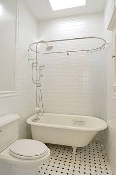 Suzie: XLart Group - Vintage bathroom design with glossy white beveled subway tiles backsplash, ...