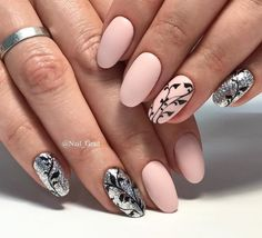 Cream & sliver nails with black leaves.