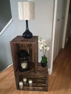 Custom crate L side table by CorinneDianne on Etsy