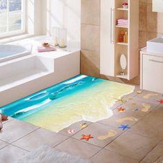 Seaside Bathroom, Bathroom Vinyl, Bathroom Kids, Diy Bathroom Decor, Bathroom Flooring, Kid Bathrooms, Bedroom Decor, Floor Decal, Floor Stickers