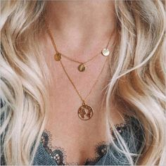 Multilayer Necklaces & Pendants Vintage Moon Choker Necklace for Women Gold Collier Jewelry Layered Choker Necklace, Chocker Necklace, Multi Layer Necklace, Gold Pendant Necklace, Drop Necklace, Chokers, Silver Necklaces, Coin Necklace, Silver Earrings