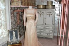A dress from the collection displayed in one of the closets at Hillwood, Washington DC