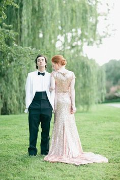 rose gold wedding gown by gibson bespoke