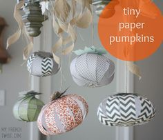 made - tiny paper pumpkins - My French Twist Crafts To Sell, Crafts For Kids, Diy Crafts, Holidays Halloween, Halloween Decorations, Fall Decorations, Halloween Ideas, Craft Tutorials, Craft Projects