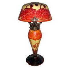 """Le Verre Francais Table Lamp, a very rare model, """"Pavot"""""""